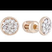 Пуссеты круглые с бриллиантами, красное золото