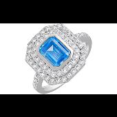 Кольцо с голубым и прозрачными фианитами, серебро