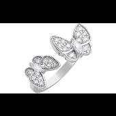 Кольцо Бабочки с фианитами, серебро