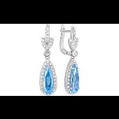 Серьги длинные с голубыми и прозрачными  фианитами, серебро