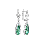 Серьги длинные Капля с зелеными и прозрачными фианитами, серебро