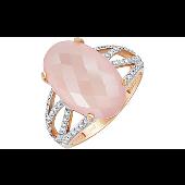 Кольцо Перстень с розовым ониксом и фианитом, красное золото