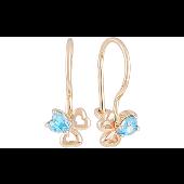 Серьги Цветочки с голубыми фианитами в форме сердечка, красное золото