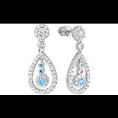 Серьги длинные Капля с голубыми и прозрачными фианитами, серебро
