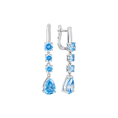 Серьги длинные с голубыми фианитами, серебро