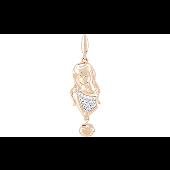 Подвеска знак зодиака Дева с фианитами, девушка, красное золото