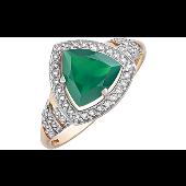 Кольцо с зелёным ониксом и фианитом, красное золото
