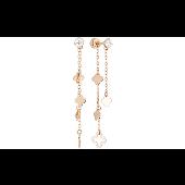 Серьги-пусеты длинные с подвесками и фианитом, красное золото