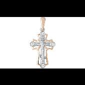 Крест православный литой с фианитами, красное и белое золото