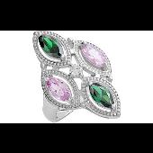 Кольцо Перстень с розовыми и зелеными фианитами, серебро