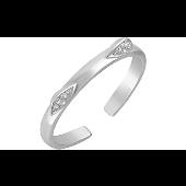 Кольцо Кошка с ушками с фианитами разомкнутое, серебро