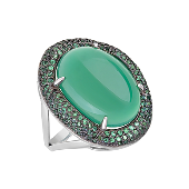 Кольцо Перстень с овальным зелёным ониксом и зелеными фианитами, серебро