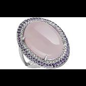 Кольцо с розовым ониксом и синими фианитами из серебра