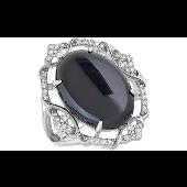 Кольцо Перстень с овальным черным ониксом и фианитами, серебро