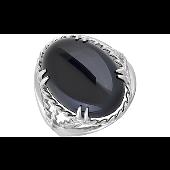 Кольцо Перстень с овальным черным ониксом, серебро