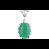 Кулон с зеленым овальным ониксом, серебро