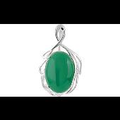 Подвеска с зелёным ониксом, серебро
