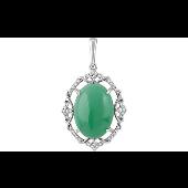 Подвеска с овальным зеленым ониксом и фианитами, серебро
