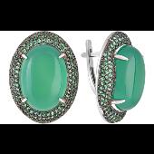 Серьги с зеленым ониксом и зеленым фианитом, серебро