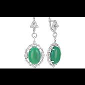 Серьги с зеленым ониксом и фианитом, серебро