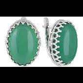 Серьги с овальным зеленым ониксом, серебро