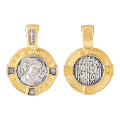 Икона Ангел Хранитель в круглом окладе, серебро с золотым покрытием
