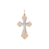 Крест православный с лепестками, красное золото