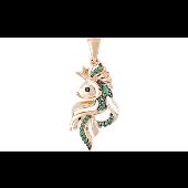 Подвеска Золотая Рыбка с зелеными фианитами, красное золото
