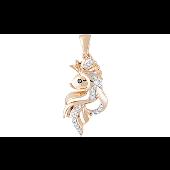Подвеска Золотая Рыбка с чёрным и прозрачным фианитами, красное золото