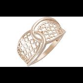 Кольцо ажурное без камня, красное золото