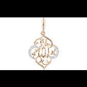 Подвеска Мусульманская молитва с фианитами, красное золото