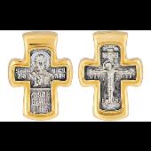 Крест православный Николай Чудотворец, серебро с золотым покрытием