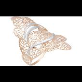 Кольцо широкое ажурное без вставок Листочки, красное золото