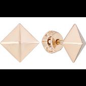 Серьги-пусеты квадратные Пирамида без камня, красное золото