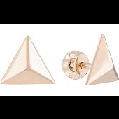 Серьги-пусеты треугольные Пирамида без камня, красное золото