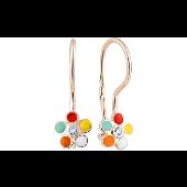 Серьги детские Цветик-Семицветик с фианитами и цветной эмалью, красное золото