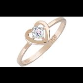 Кольцо Сердце с 1 фианитом, красное золото