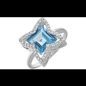 Кольцо с квадратным топазом и фианитами, серебро