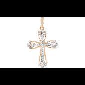 Крест ажурный без распятия с фианитами, красное золото