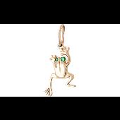 Кулон Лягушка с зелеными глазами, красное золото