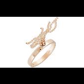Кольцо с шариковыми цепочками, красное золото