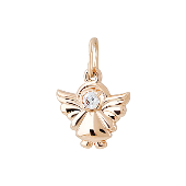 Кулон Ангел с фианитом, красное золото