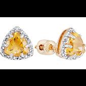 Серьги с треугольными цитрином и бриллиантами, красное золото