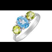 Кольцо с топазом и хризолитами, серебро