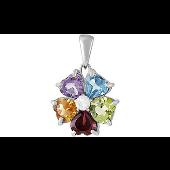 Кулон Конфетти цветок с гранатом, аметист, топаз, хризолит, цитрин и фианит, серебро