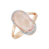 Кольцо с розовым ониксом и фианитами, красное золото