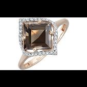 Кольцо с квадратным раухтопазом и фианитами, красное золото