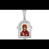 Икона Святая Анна с фианитами и эмалью, серебро