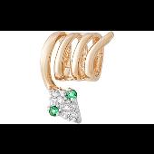 Кулон-пружинка Змея с зелеными и прозрачными фианитами, красное золото