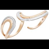 Кольцо Волна на два пальца, красное золото